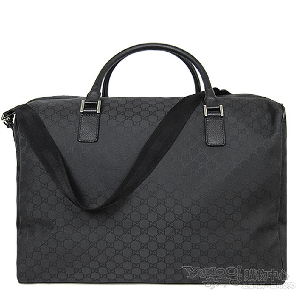 GUCCI LOGO壓紋防水布手提肩背大旅行袋(黑)