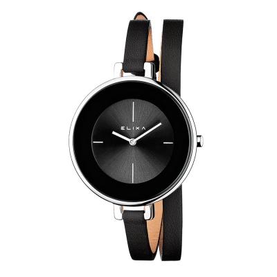 ELIXA Finesse系列銀框 黑錶盤/黑色皮革纏繞式錶帶38mm