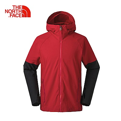 The North Face北面男款紅色防風透氣運動外套