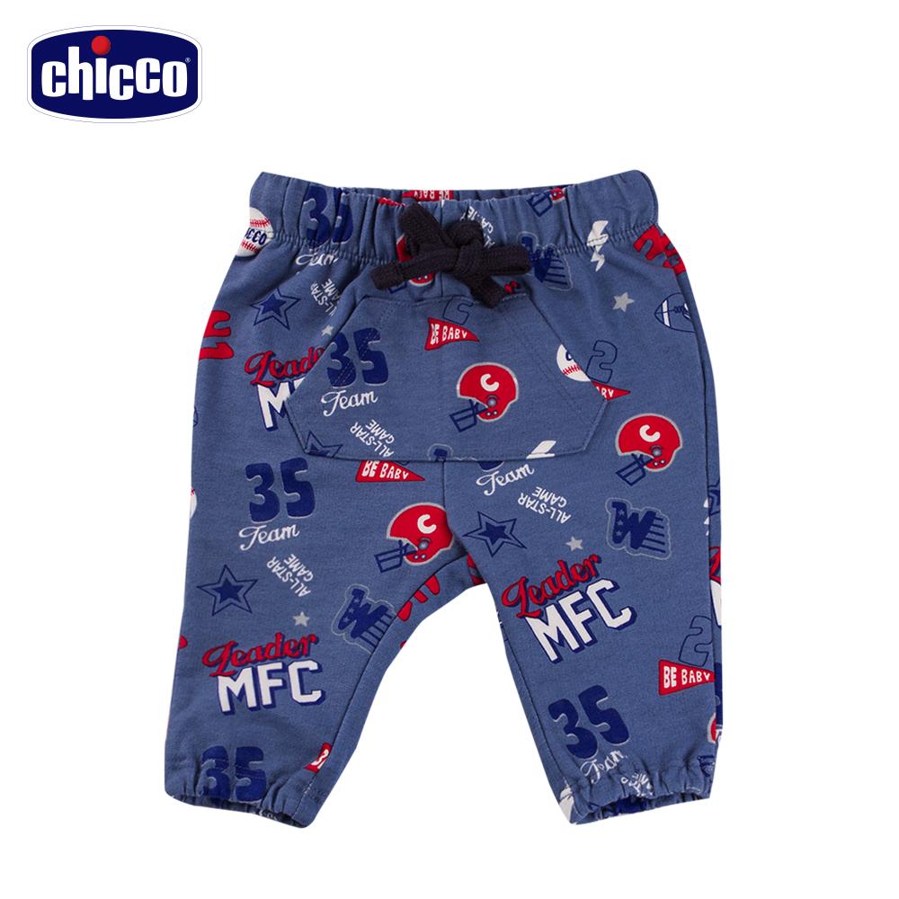 chicco塗鴉風抽繩長褲-藍(12-24個月)