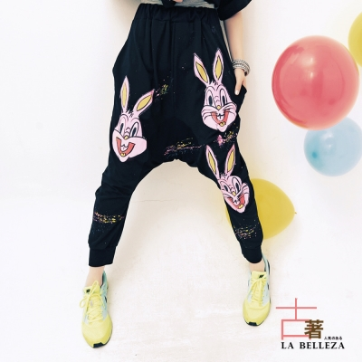 古著 粉紅兔潑墨棉質底檔飛鼠褲