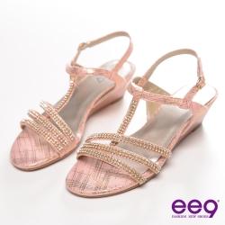 ee9 名媛水鑽細帶宴會楔型涼鞋~氣質粉