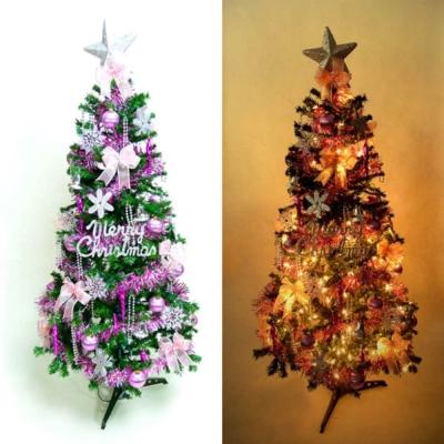 超級幸福10尺(300cm)一般型裝飾綠聖誕樹(+銀紫色系配件組+100燈鎢絲樹燈7串)