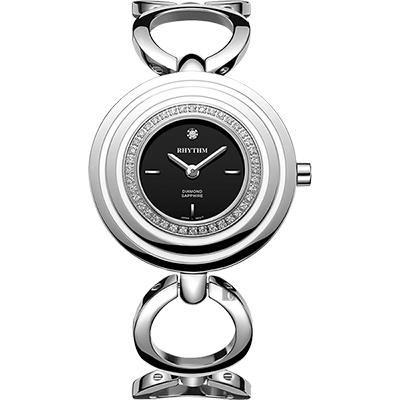 RHYTHM日本麗聲 同心圓晶鑽手鍊女錶-黑x銀/34mm L1302S02