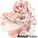 AnnaSofia 幻蓮雅粉款 薄款純羊毛圍巾(短鬚-桔粉)