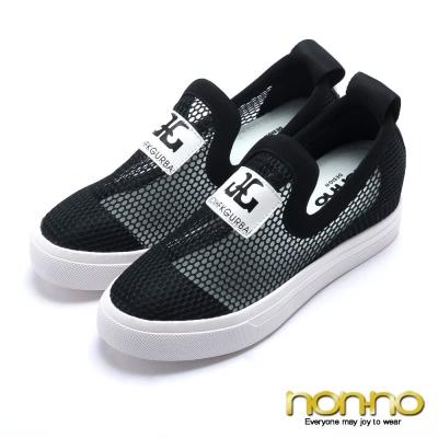 nonno-韓系率性-造型字樣鏤空網布休閒鞋-黑