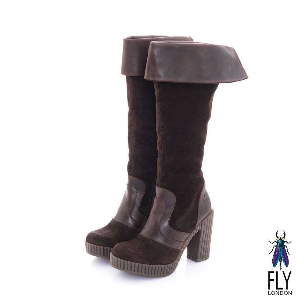 Fly London(女) 叛逆COCO 反摺二用雙料及膝長靴-深咖