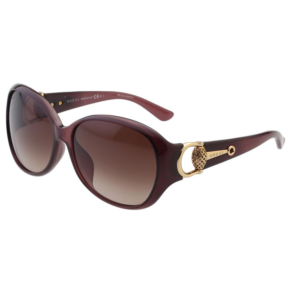 GUCCI- 時尚金球款 太陽眼鏡 (紫紅色)