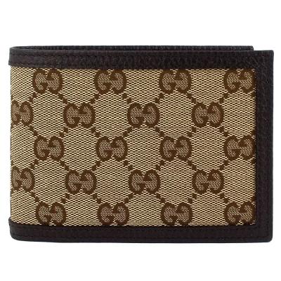 GUCCI 經典帆布咖啡色皮飾邊多夾層短夾(6卡/大)