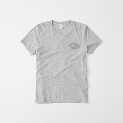 A&F 經典文字印刷設計短袖T恤-灰色 AF Abercromb