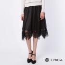 CHICA 浪漫花漾雪花點點輕透雪紡長裙(2色)