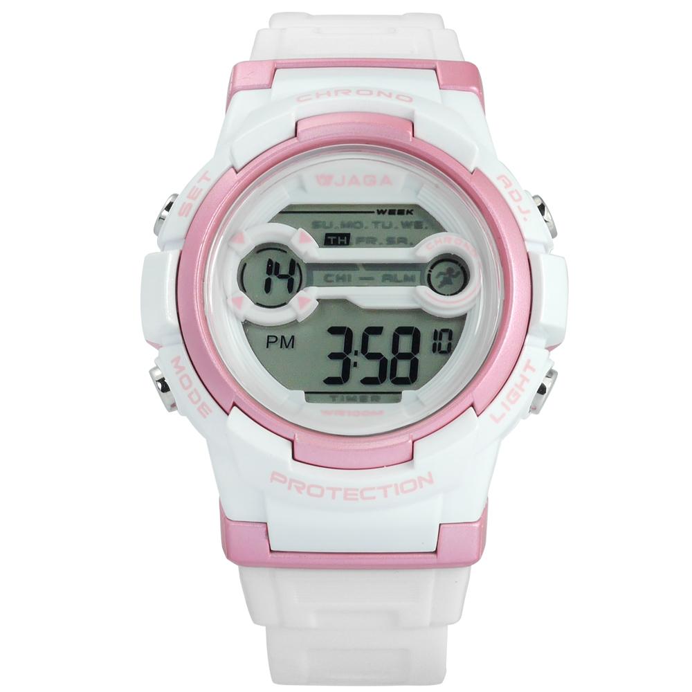 JAGA 捷卡 搶眼青春活力電子運動橡膠手錶-白粉色/39mm