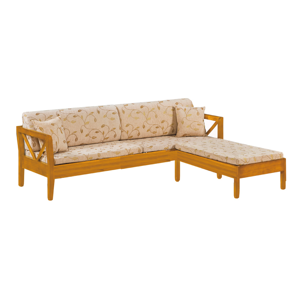 品家居 維斯其亞麻布實木L型沙發(四人+凳)-242x188x85-免組