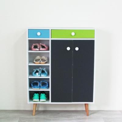 Amos-幾何元素三色鞋櫃/鞋架(W80*D30*H96.5 CM)