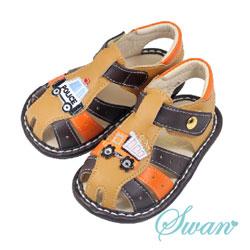 Swan天鵝童鞋-可愛不對稱汽車寶寶涼鞋1540-咖