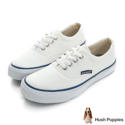 Hush Puppies 極簡淺條咖啡紗中性休閒鞋-白色