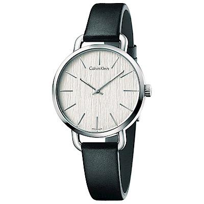 Calvin Klein 雅緻永恆木質感石英女錶(K7B231C6)-白色/36mm