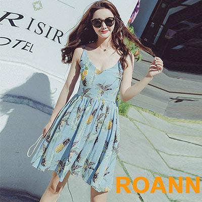 熱帶水果吊帶洋裝 (藍色)-ROANN
