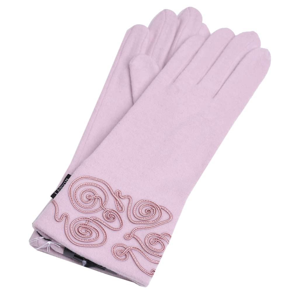 LANVIN 優雅線花圖騰LOGO圖騰高科技纖維手套(粉紅)