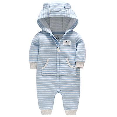 Carters 美國 小熊淺藍條紋長袖連身衣