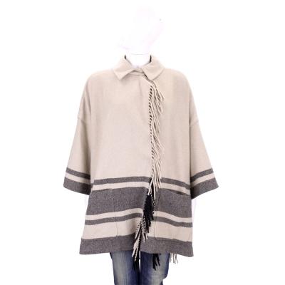 Max Mara-WEEKEND卡奇x深灰流蘇羊毛罩衫(90%WOOL)