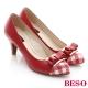 BESO 粉領甜心 全真皮拼格紋窩心高跟鞋