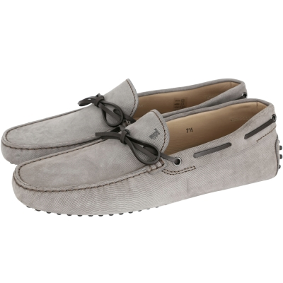 TOD'S Gommino Driving 麂皮燈芯絨綁帶豆豆休閒鞋(男/灰色)