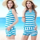 二件式泳裝 繞頸綁帶短褲款 (海洋風粗藍條紋M-L) TiNyHouSe product thumbnail 1
