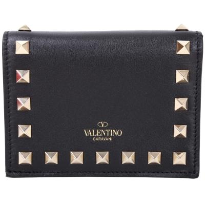 VALENTINO Rockstud 金色鉚釘小牛皮萬用釦式零錢包(黑色)
