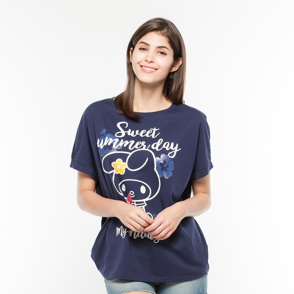 Hang Ten -女裝 - Hello Kitty寬鬆剪裁T-shirt-藍