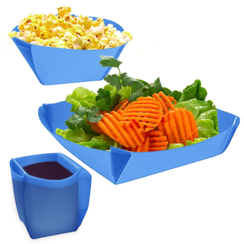 樂活環保餐具 三件式可折疊組合餐具(杯子 碗 盤)(加贈星星造型多功能開瓶器1入)
