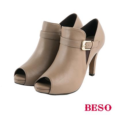 BESO俐落都會 鬆緊帶釦環全真皮細跟魚口跟鞋~灰褐