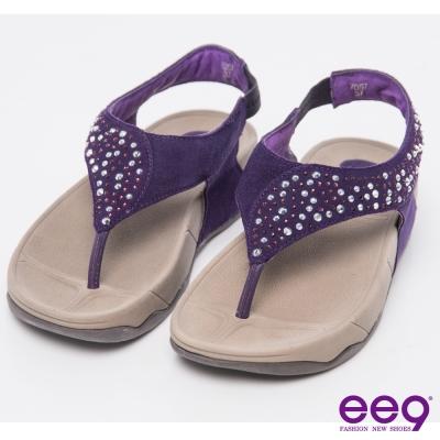 ee9 率性風采~T字裸感閃耀星光麂皮鑲嵌鑽飾夾腳涼鞋~紫色