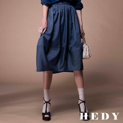 Hedy赫蒂 細直條鬆緊長花苞裙(藍色)