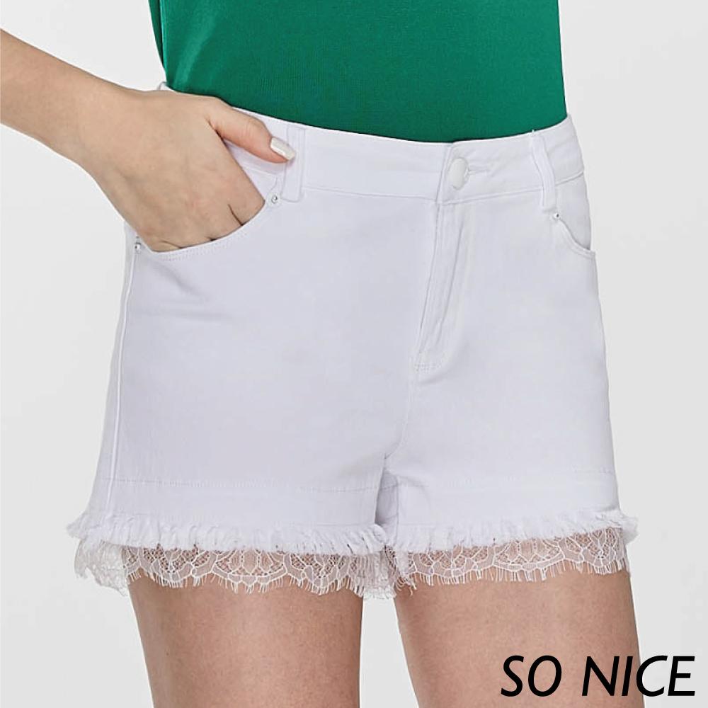 SO NICE率性拼接蕾絲短褲-動態show product image 1