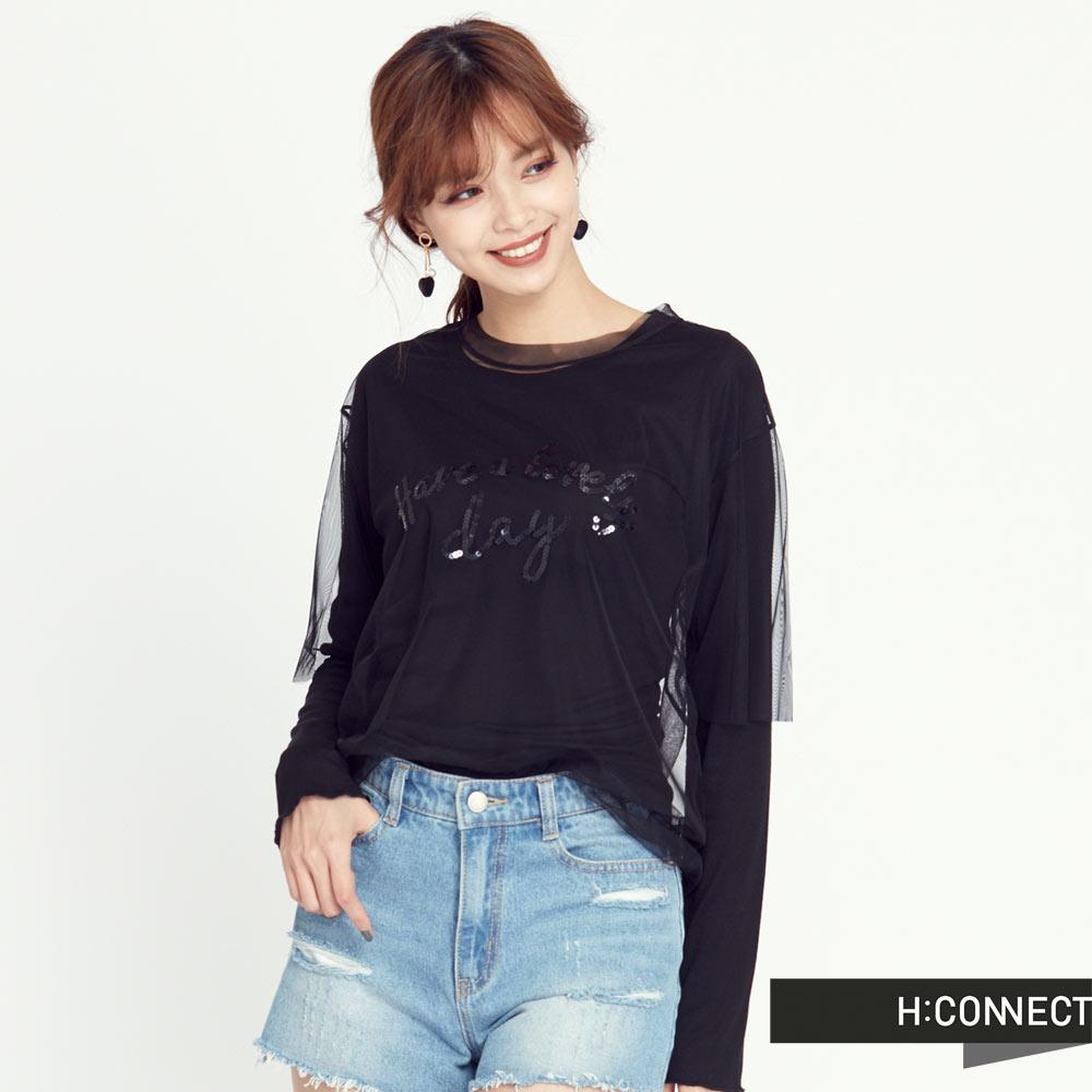 H:CONNECT 韓國品牌 女裝 - 亮片網紗長袖T-Shirt-黑