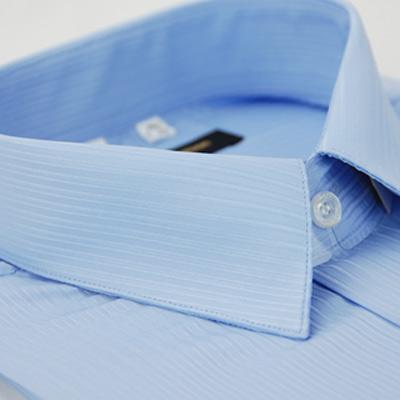 金‧安德森 藍色條紋類絲質短袖襯衫