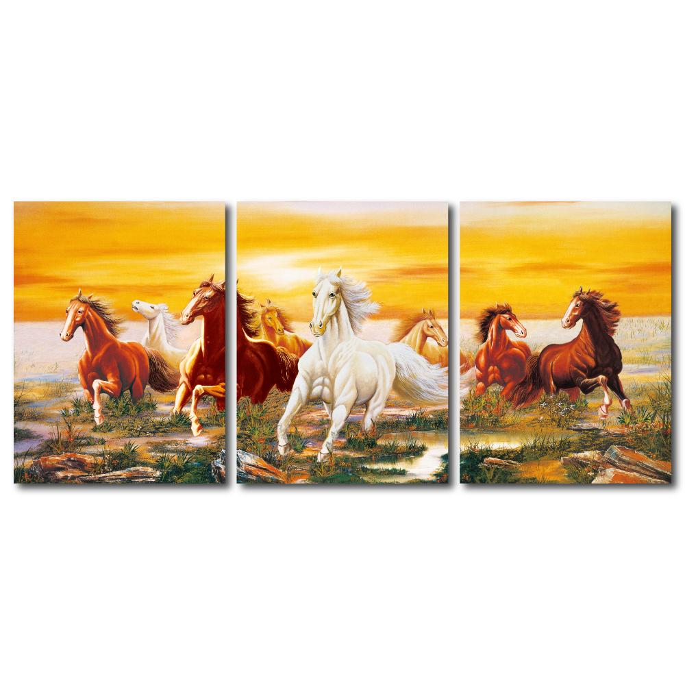 橙品油畫布- 三聯無框圖畫藝術家飾品- 策馬奔騰 30x40cm