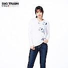 BIG TRAIN 招福財貓圓領長袖-女-白色