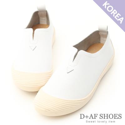D+AF 自在穿搭.超軟牛皮U口懶人鞋*白