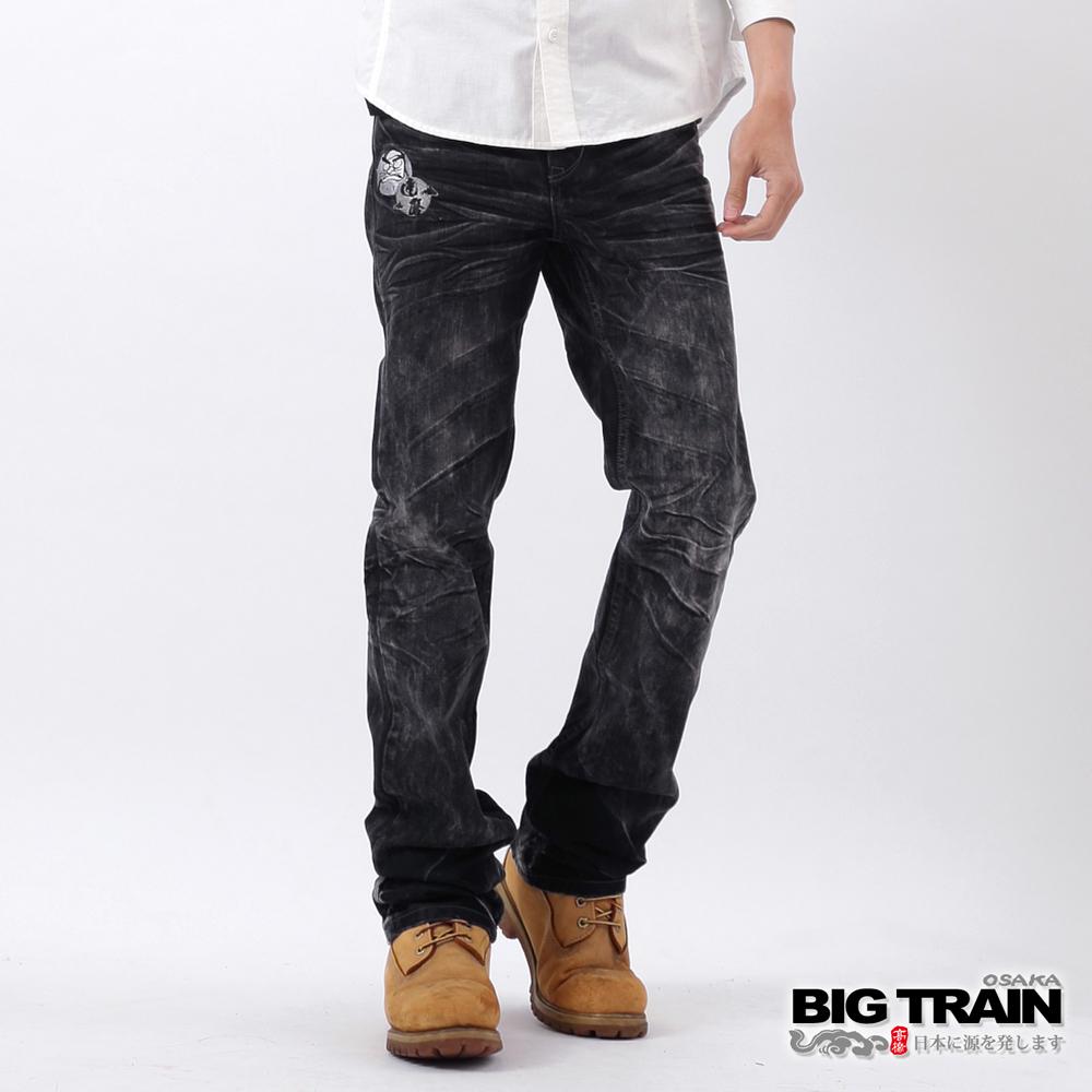 BIG TRAIN 暗黑達磨小直筒褲-黑