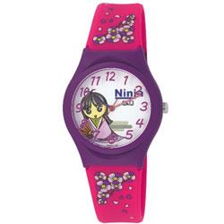 Q&Q 日系古城堡神秘忍法帖卡通腕錶-白x紫框/35mm