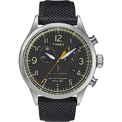 【TIMEX】天美時Waterbury系列 雙眼計時手錶-黑/42mm