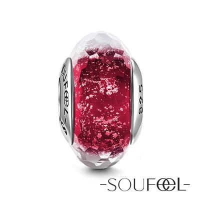 SOUFEEL索菲爾 925純銀珠飾 深紅色冰晶 琉璃珠
