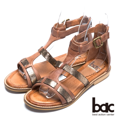 bac歐風時尚 混搭風格羅馬涼鞋-棕色