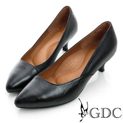 GDC都會-經典拼接尖頭真皮低跟鞋-黑色