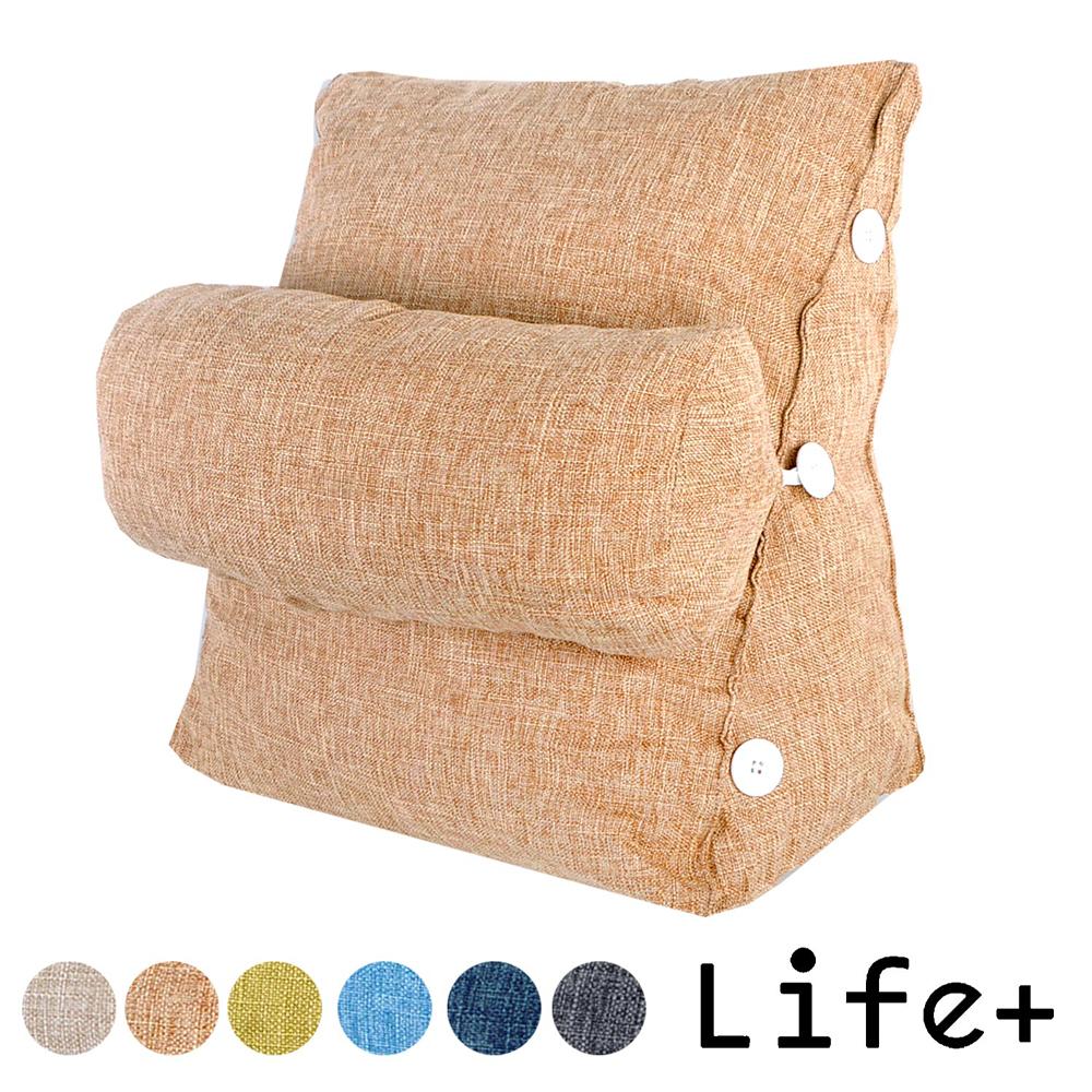 Life Plus 純色品味 舒壓萬用棉麻靠枕/抱枕/腰靠枕 (咖啡)