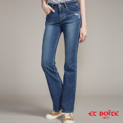 ETBOITE 箱子 BLUE WAY  精繡鑽微彈中腰靴型褲-淺藍