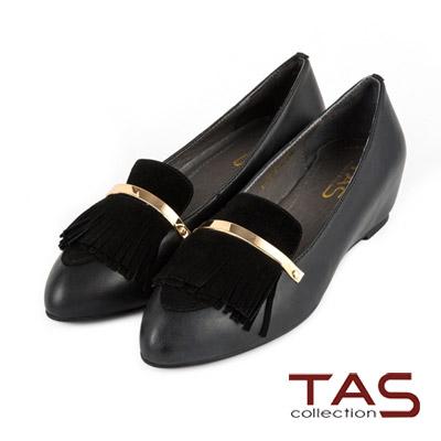 TAS-一字金屬流蘇裝飾內增高樂福鞋-百搭黑
