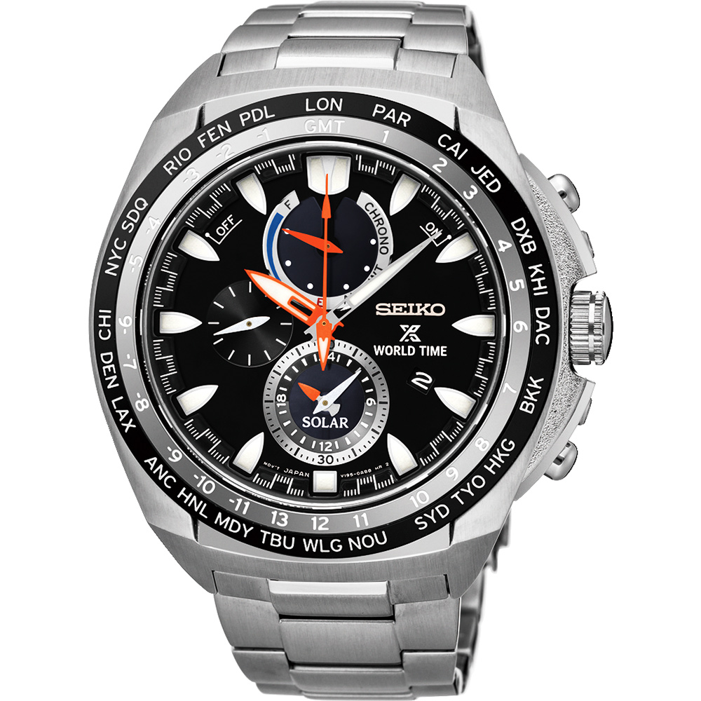 SEIKO 精工 Prospex 海世界時間時尚腕錶(SSC487P1)-黑/44.6mm